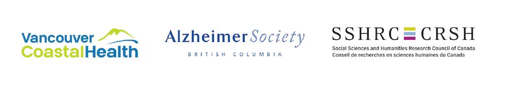 Vancouver Coastal Health, Alzheimers BC, SSHRC logos